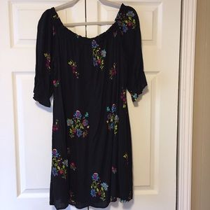 Lux Dresses - LUX | Boho Off Shoulder Black Floral Dress Size 12